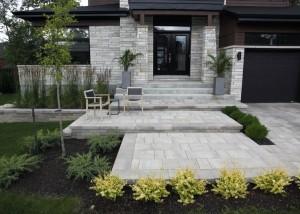 aménagement plante dalles bordures marche
